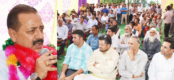 Union Minister Dr Jitendra Singh addressing a function at Ramban on Saturday.