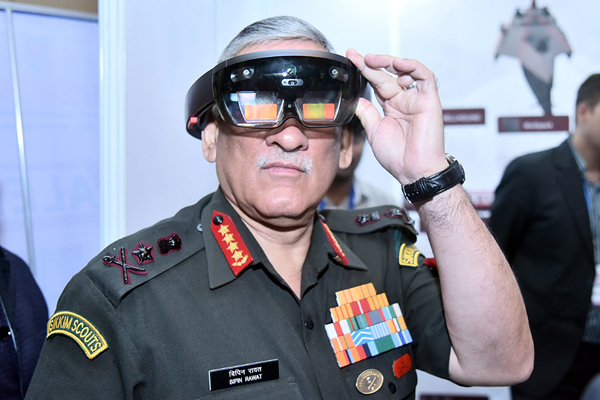 Chief of Army Staff, General Bipin Rawat at an exhibition stalls set up on the side-lines of seminar on 'Solution to Problem Statements' organized by FICCI in New Delhi on Wednesday. (UNI)