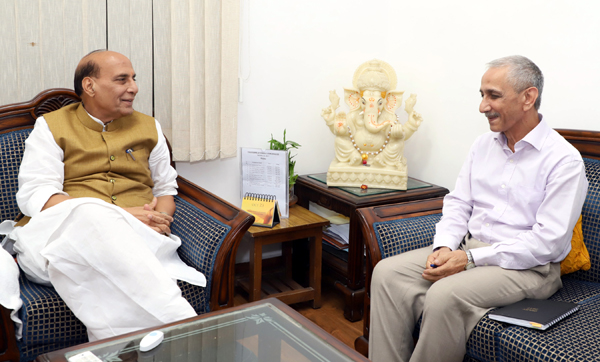 Dineshwar Sharma in a meeting with Union Home Minister, Rajnath Singh, after being appointed as the Representative of Government of India to initiate dialogue in Jammu and Kashmir, in New Delhi on Monday.