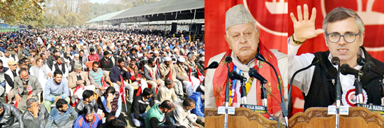 Dr Farooq Abdullah and Omar Abdullah address NC delegates' session in Srinagar on Sunday. —Excelsior/Shakeel