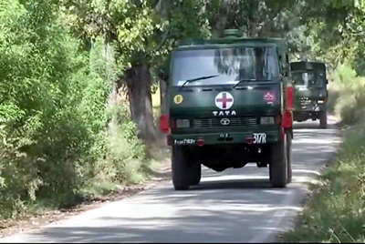 An Army ambulance shifting three injured Army jawans to hospital in Poonch sector on Wednesday.