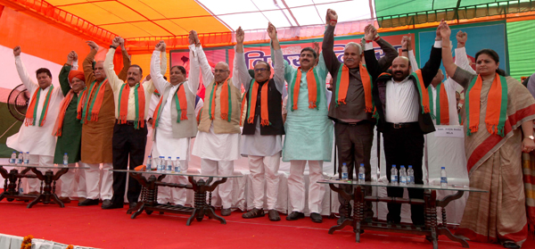 BJP leaders during Accession Day rally at Jammu on Thursday. -Excelsior/Rakesh