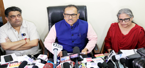 Deputy Chief Minister, Dr Nirmal Singh along with CEs of M&RE addressing a press conference at Jammu on Sunday. —Excelsior/Rakesh