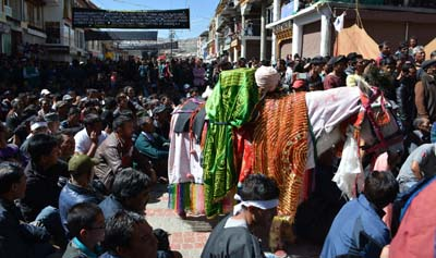 Shia Muslims taking out Muharram procession in Leh on Sunday. -Excelsior/Morup Stanzin