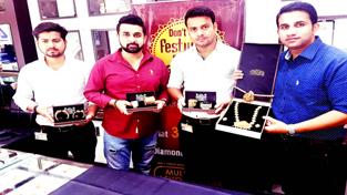 AuFinja Gold Bracelet-cum-Watches being displayed at Mulkh Raj Ashok Kumar (MRAK) Jewellers in Jammu on Wednesday.