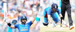 Virat Kohli celebrating century, (R) Kohli falls while running between the wickets during First One Day International Match against New Zealand in Mumbai on Sunday.