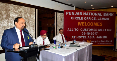 PNB GM addressing customers meet at Jammu.