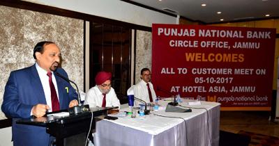 PNB GM addressing customers meet at Jammu.