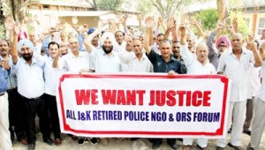 Police pensioners hold protest demonstration