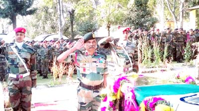 Last respect being paid to martyr Sepoy T K Reddy.
