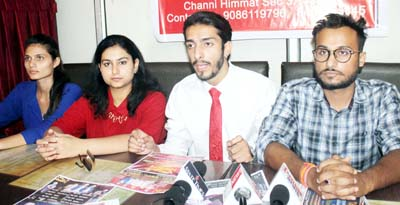 Organizers of live dance show 'Jam K Nach' addressing a press conference at Jammu. -Excelsior/Rakesh