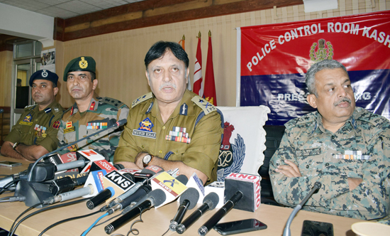 IGP Kashmir Muneer Khan along with Army and CRPF officials addressing a joint press conference at PCR in Srinagar on Monday. -Excelsior/Shakeel