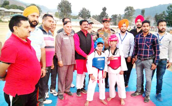 Dignitaries inaugurating Inter-District Taekwondo Championship in Poonch on Saturday.