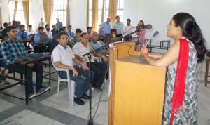 Workshop on communication skills in progress at IECS Polytechnic, in Jammu.