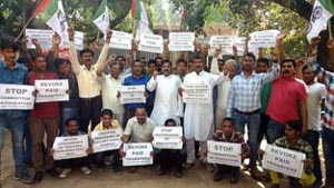 NPP activists staging protest in Jammu on Saturday.