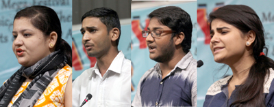 Students performing during Poetry Recitation Competition at University of Jammu. — Excelsior/Rakesh