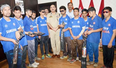 J&K Blind cricketers posing along with IGP Jammu, Dr SD Singh Jamwal on Friday.