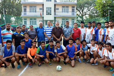 Handball players posing along with dignitaries and officials in Jammu on Tuesday.