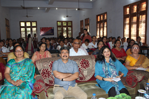 Dignitaries during debate competition organized by Civil Defence at Jammu on Friday.