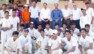 Winners of Diwali Cup posing along with chief guest and other dignitaries in Jammu on Friday.
