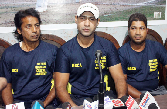 Mayank Goswami interacting with media persons at Jammu on Tuesday.