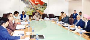 Chief Minister , Mehbooba Mufti chairing JKSPDC Board of Directors meeting in Srinagar.