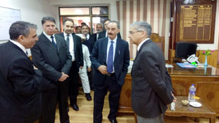 Chief Justice J&K High Court, Justice Badar Durrez Ahmed during visit to District Court Complex, Moominabad on Tuesday.