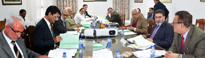 Governor N N Vohra chairing Council meeting of Kashmir University.