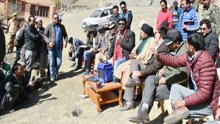 Chairman Legislative Council, Anayat Ali during his visit to Kargil district.
