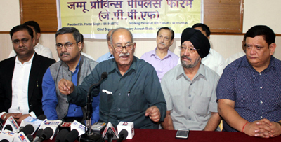 President JPPF, Pavitar Singh, flanked by Ex-MLC TS Wazir and others at a press conference in Jammu on Wednesday. —Excelsior/Rakesh