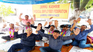 JKMEF members from block Pallanwala sitting on chain hunger strike in the premises of DHS Jammu.