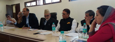 Senior NC leaders at a meeting in Srinagar on Thursday.