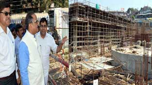 DyCM Dr Nirmal Singh inspecting development project at Jammu on Friday.