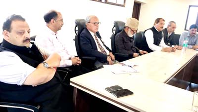 NC leaders at a meeting in Srinagar on Monday.