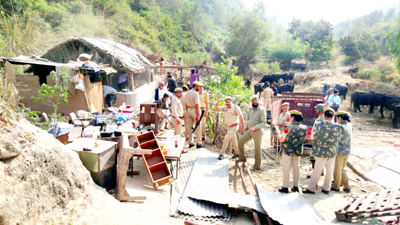 Joint team of Forest, Revenue and Police evicting land grabbers near ASCOMS Hospital in Sidhra area of Jammu.