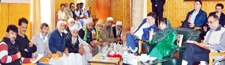 Chief Minister Mehbooba Mufti conducting public grievances redressal camp at Baramulla.