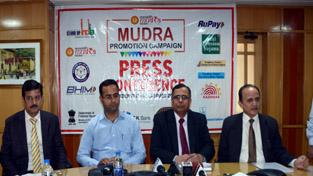 JK Bank executive body addressing a press conference in Srinagar. —Excelsior/Shakeel