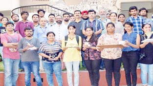 Students posing with Bamboo products on the conclusion of 'Bamboo Design Workshop' at SMvDU Katra.