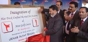 Minister for Education, Syed Mohammad Altaf Bukhari inaugurating a Sports Day function at Hat Trick Public School in Srinagar.