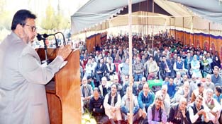 Education Minister, Altaf Bukhari addressing a gathering in Baramulla.