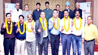 Newly elected office bearers of JKOPA posing for a group photograph at Jammu.