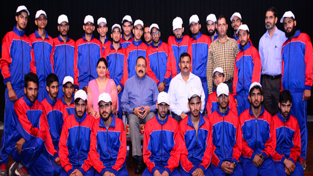 Union Minister Dr Jitendra Singh at a get-together hosted by him for a group of students from border districts of Poonch and Rajouri, on a visit to national capital, at New Delhi.