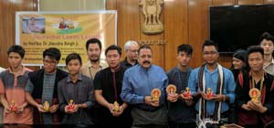 """Union Minister Dr Jitendra Singh launching a clay idol of goddess Lakshmi, titled """"Arunachal Lakshmi"""", made by a group of students from Arunachal Pradesh currently on a visit to the union capital, for whom he hosted a get-together, at New Delhi on Tuesday."""