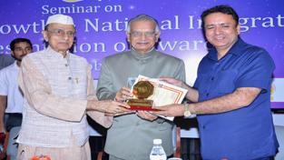 Minister for FCS&CA, Zulfkar Ali receiving Bharat Gaurav Award at New Delhi on Wednesday.