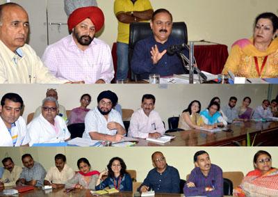 Principal Secretary Health & Medical Education, Dr Pawan Kotwal chairing a meeting on Thursday.
