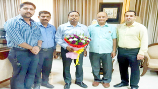 A delegation of Chartered Accountants calling on Principal Commissioner Income Tax, J&K R N Sahay on Wednesday.
