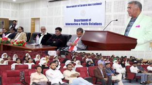 Press Council of India Chairman, Justice (R) C K Prasad speaking at an interaction programme for journalism students in Srinagar on Tuesday.