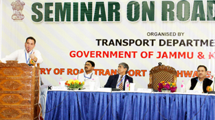 Minister for Transport, Sunil Sharma speaking at a seminar on Road Safety in Srinagar on Wednesday.
