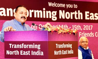 "Union Minister Dr Jitendra Singh addressing the two-day National Convention on ""Transforming Northeast India"", at New Delhi, on Sunday."