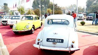 Vintage Car Exhibition at Nageen Club in Srinagar on Sunday. -Excelsior/Shakeel